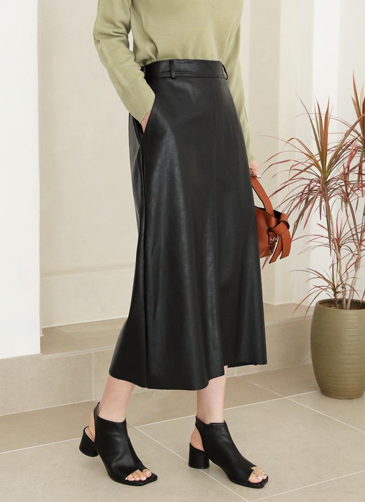 レザー調スリットスカート・全3色