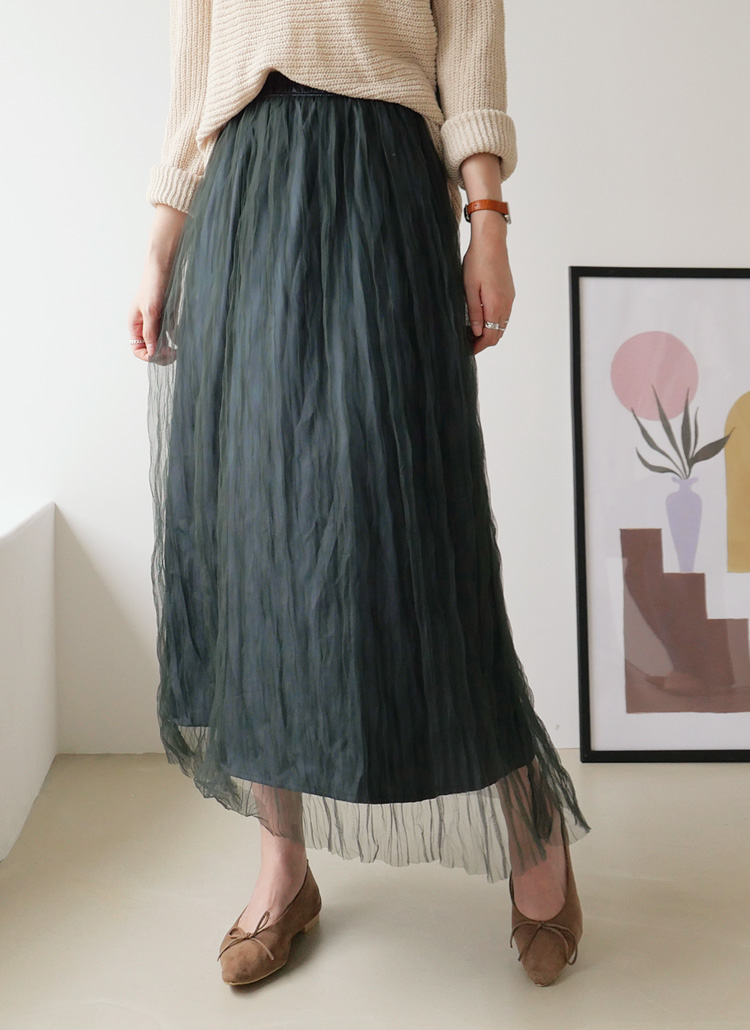 リンクルメッシュスカート・全3色