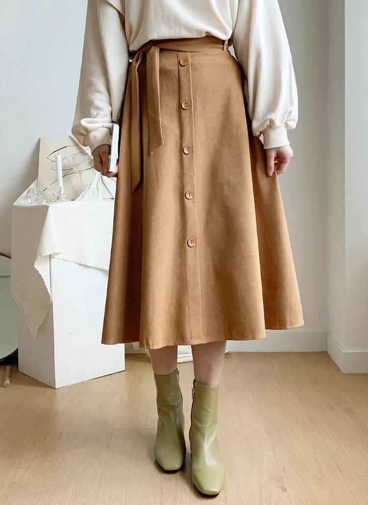 ストラップ付Aラインスカート・全3色