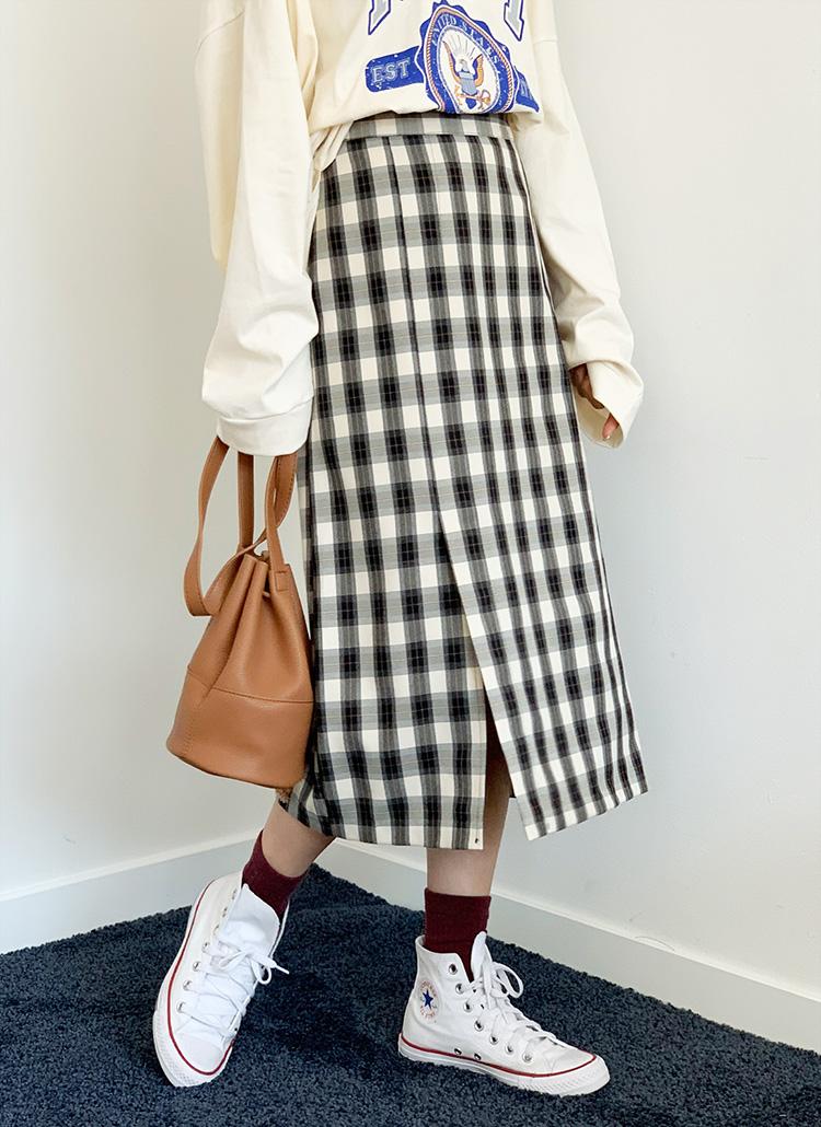 チェックHラインスカート・全3色