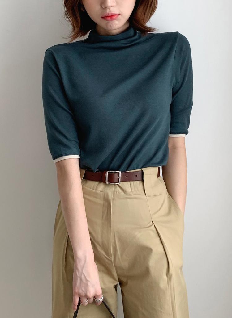 ハーフネック配色Tシャツ・全3色