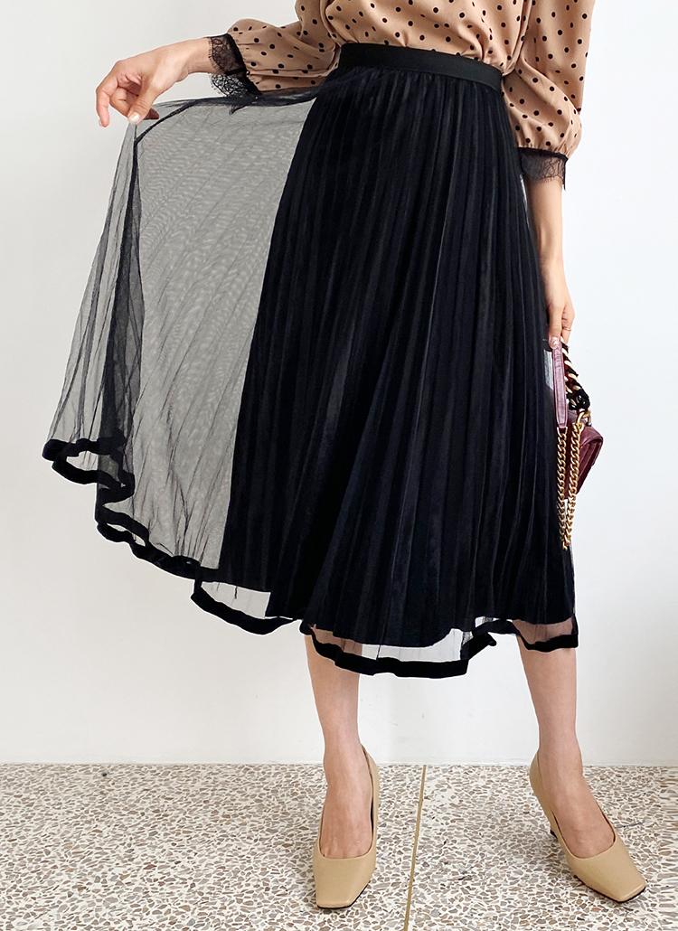 ベロアチュールプリーツスカート・全4色