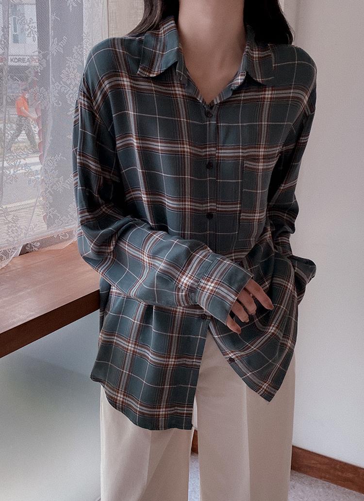 チェックパターンルーズシャツ