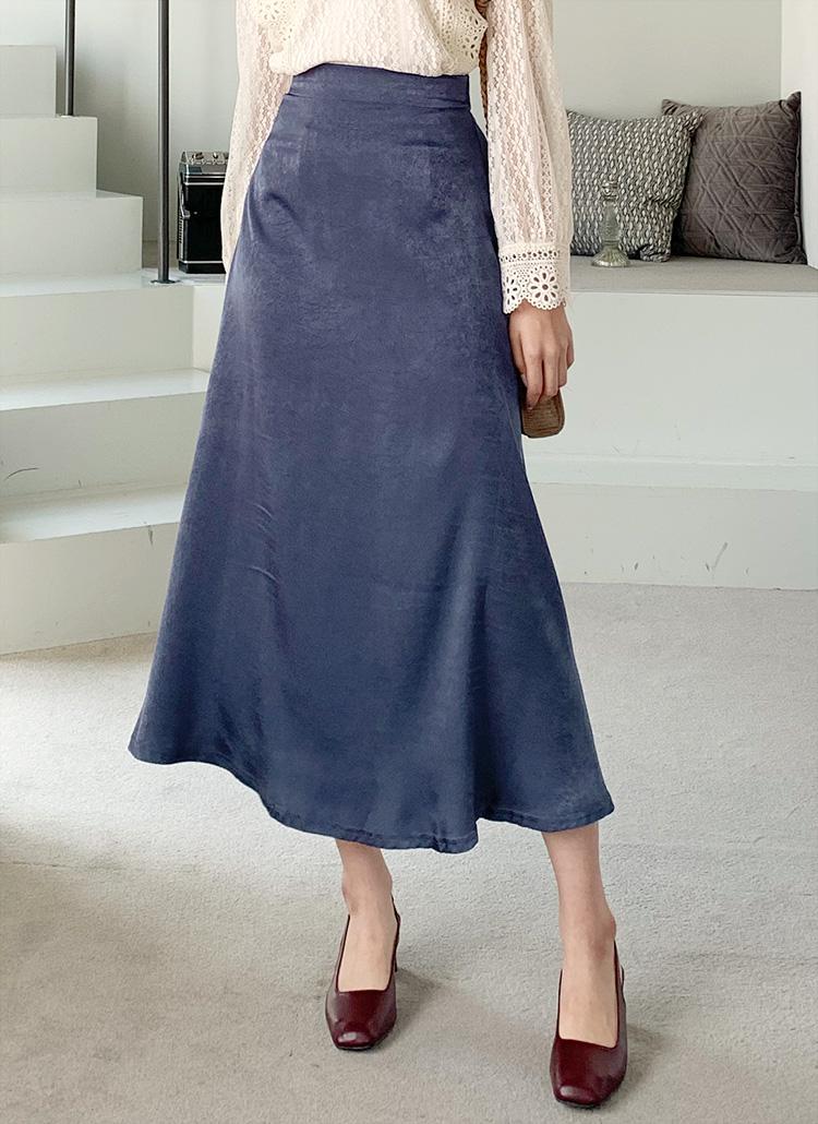 サテンフレアスカート・全3色