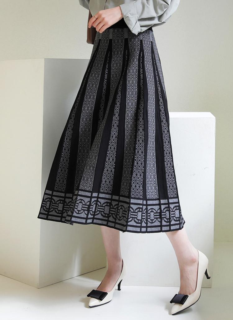 パターンニットフレアスカート・全3色