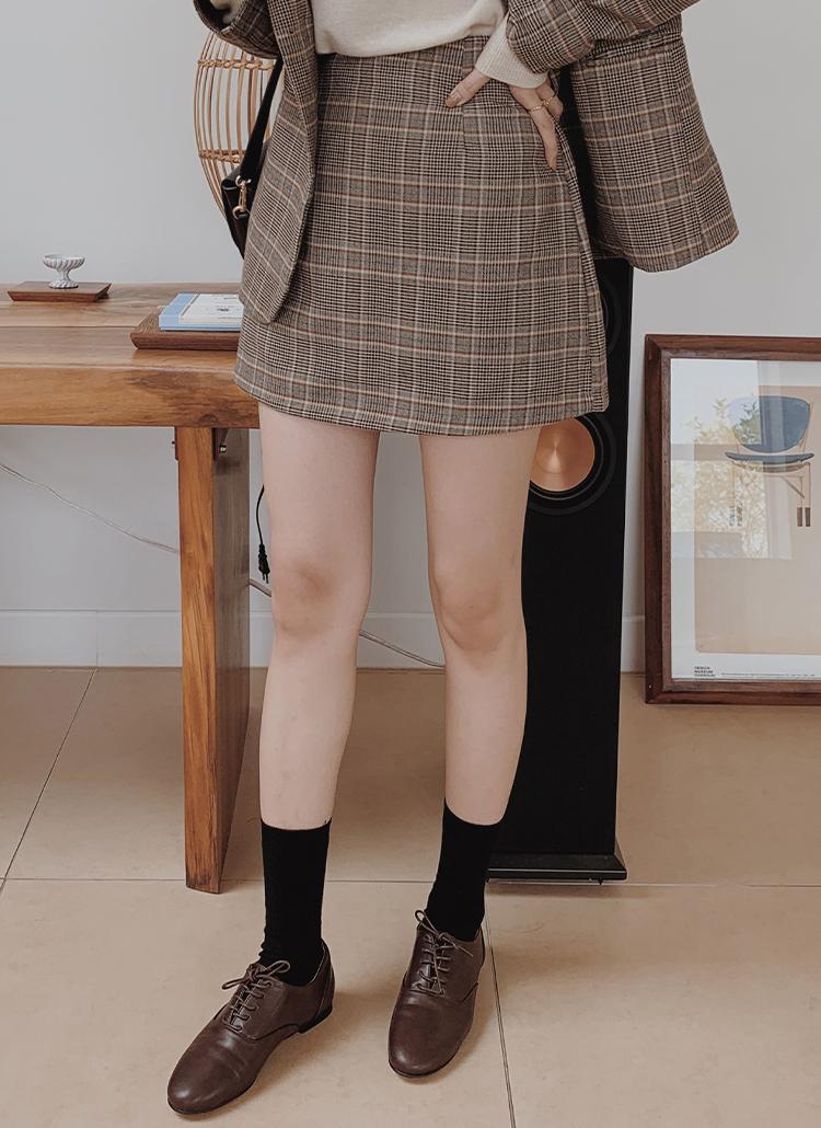 バックゴムチェック柄ミニスカート