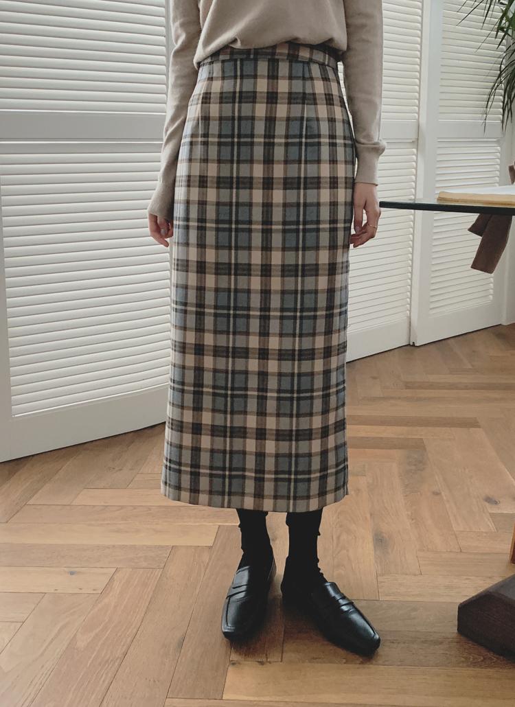 チェックパターンストレートスカート