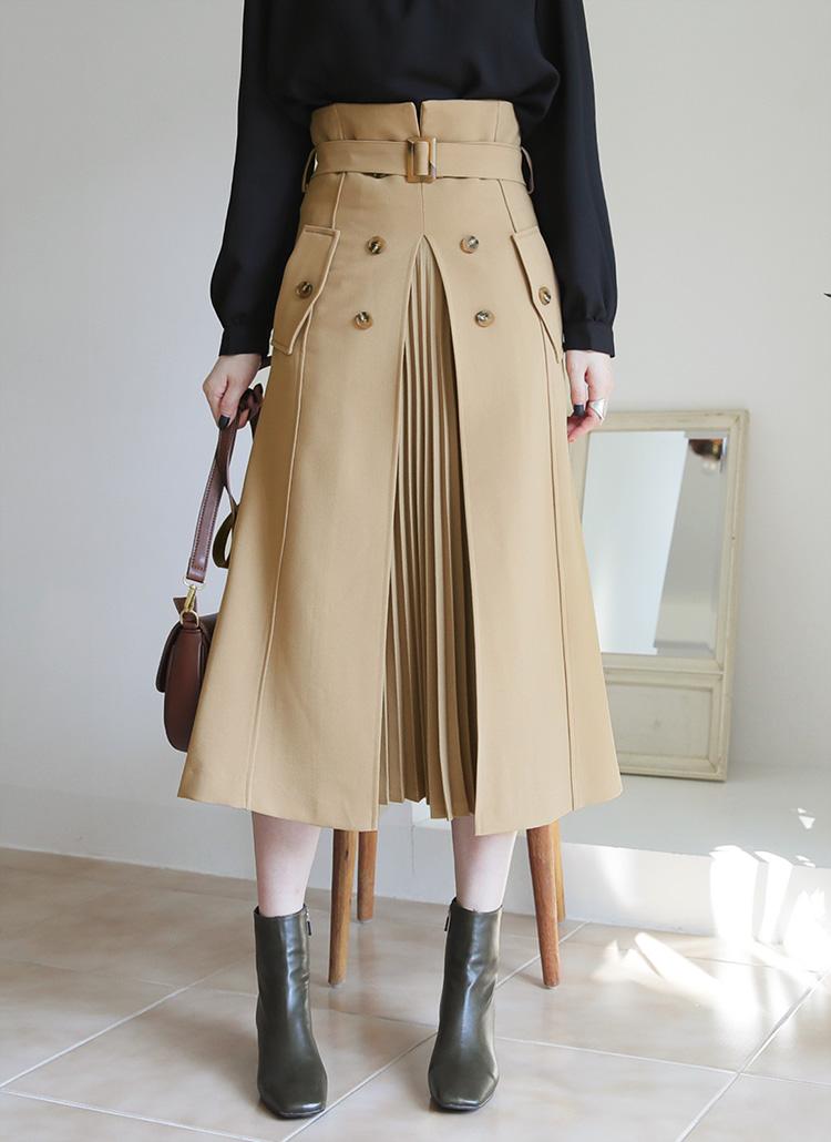 ベルト付プリーツコントラストスカート・全2色