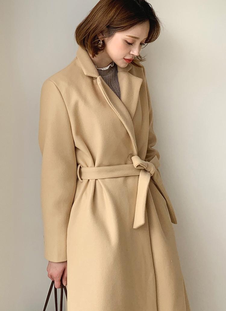 ストラップ付ウール混ロングコート・全4色