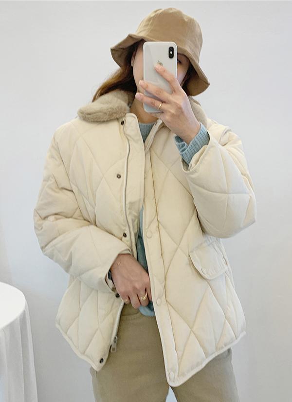 エコファーカラーダイヤキルトジャケット