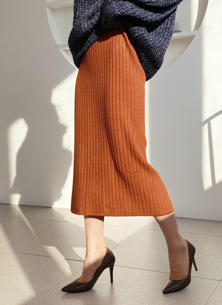 リブHラインニットスカート・全5色