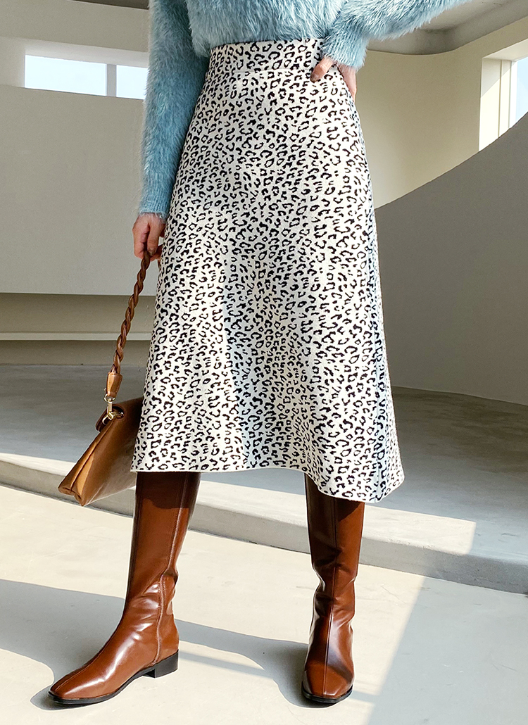 レオパードニットスカート・全2色