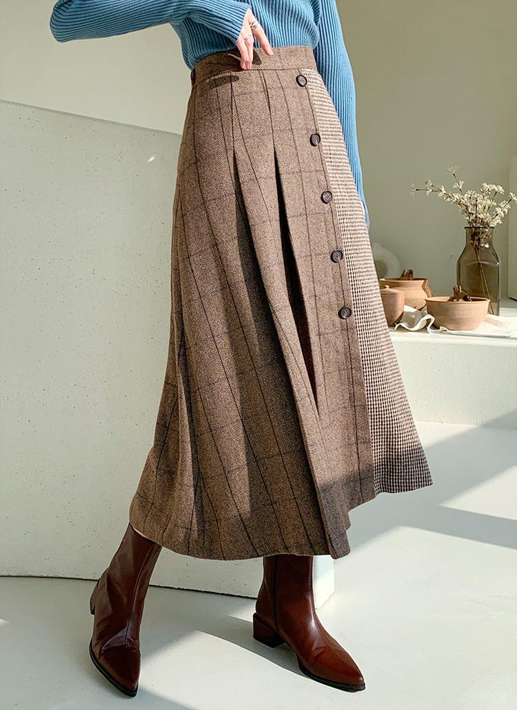 ダブルチェックボタンスカート・全2色