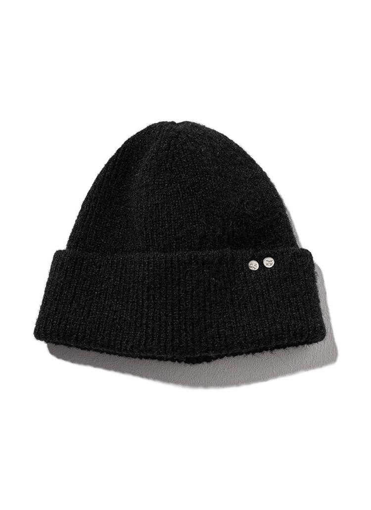 チャームニット帽(black)