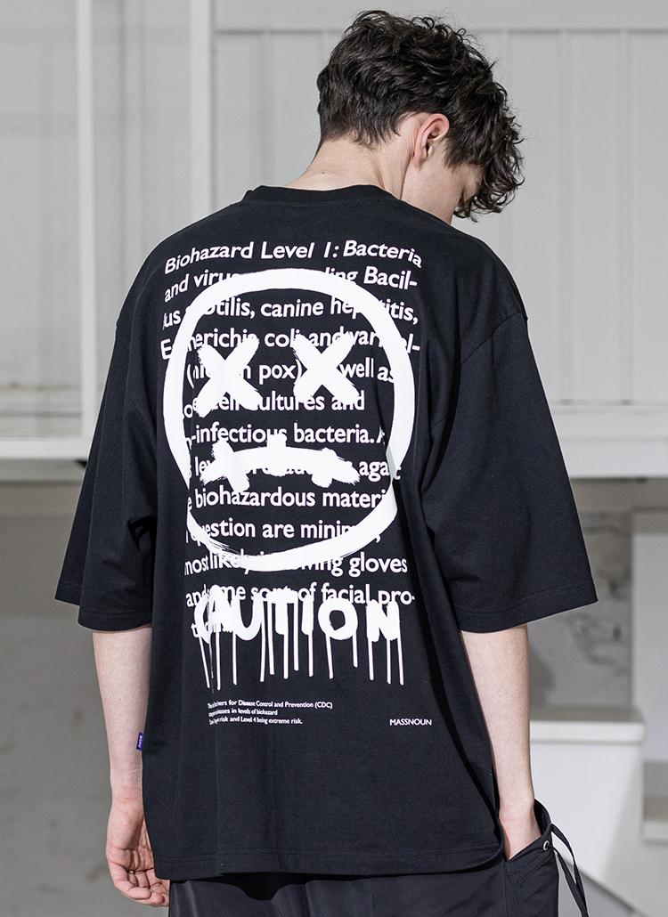 バックレタリングTシャツ(BLACK)