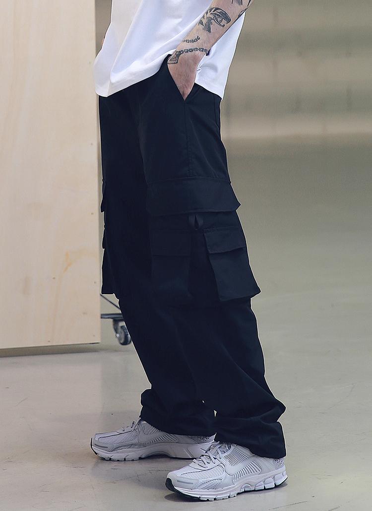 ワイド3ポケットカーゴパンツ(ブラック)