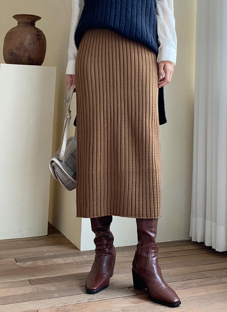 リブニットスカート・全4色