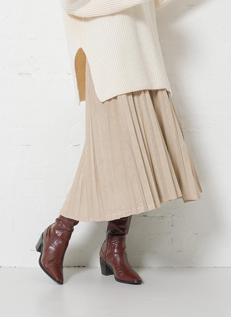 フェイクスウェードプリーツスカート・全5色