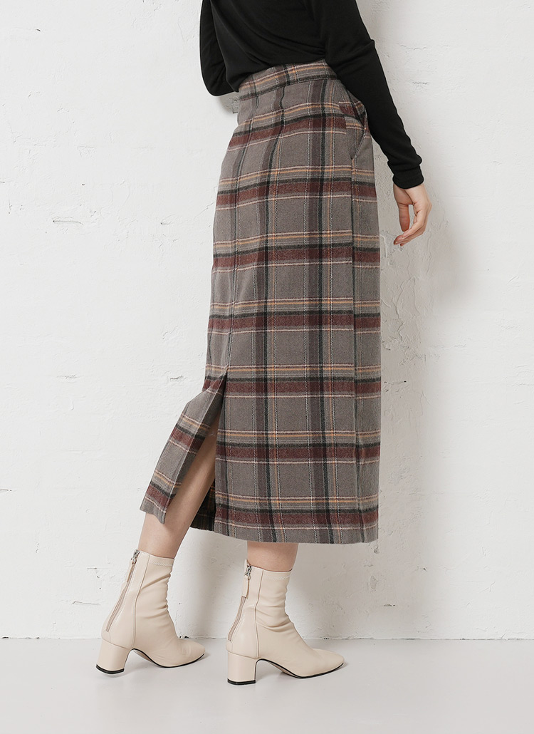 チェックミディ丈スカート・全2色