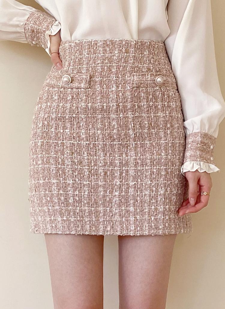 フェイクパールボタンツイードスカート