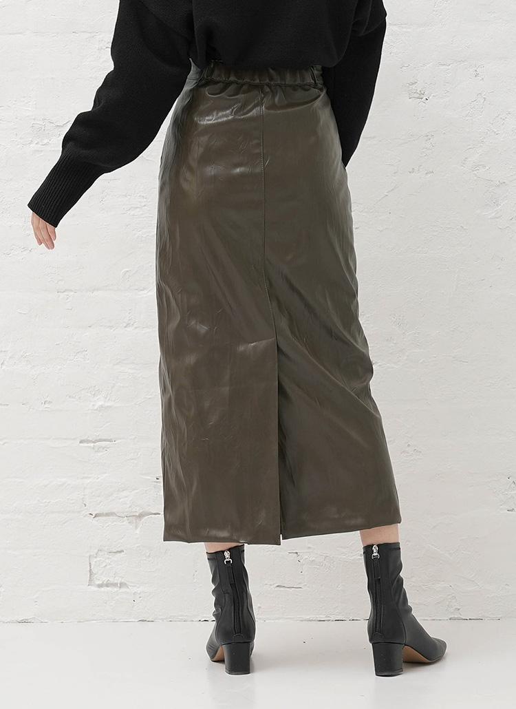 裏起毛リンクルレザースカート・全2色