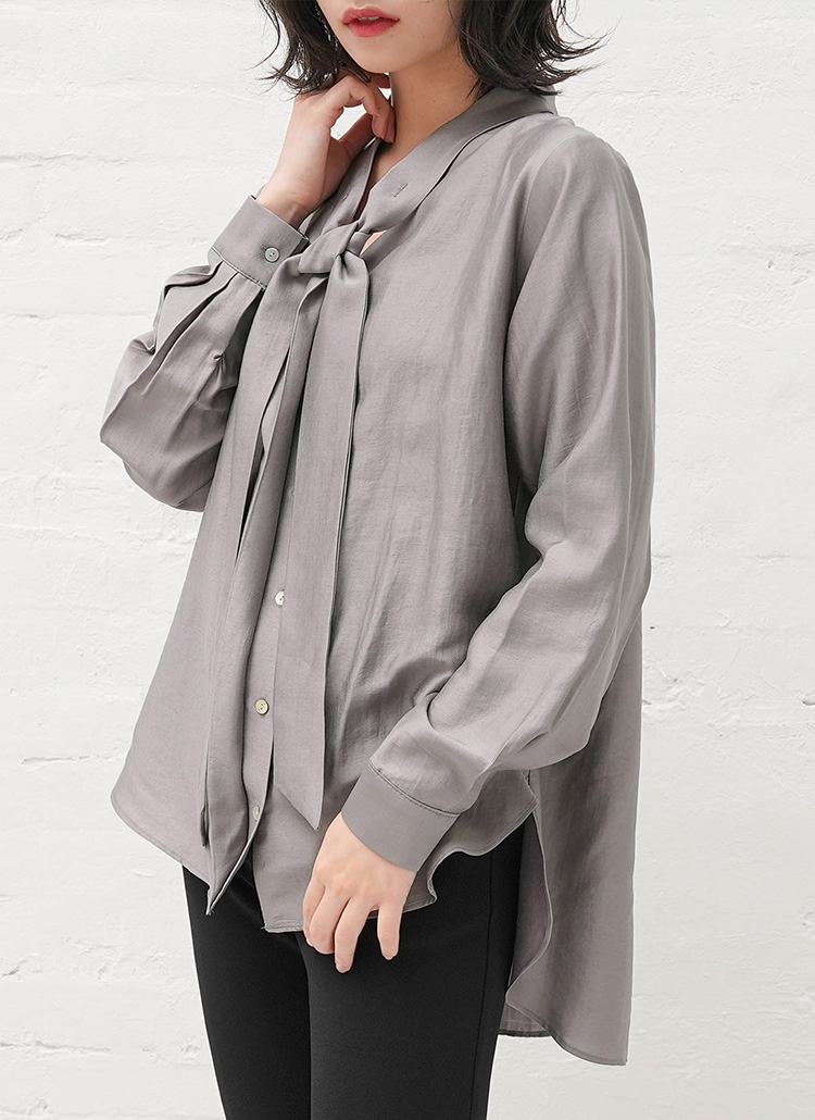モダール混リボンシャツ・全2色