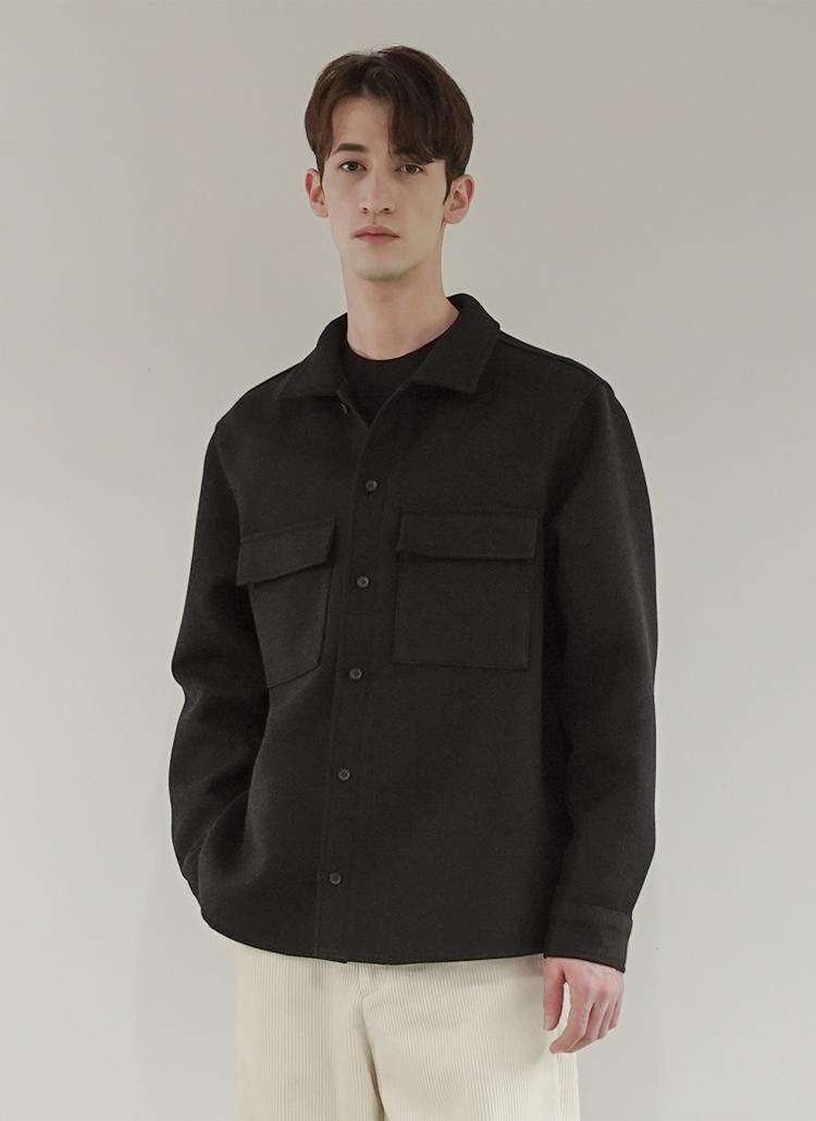フラップポケットシャツ(ブラック)