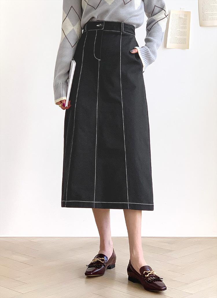 ステッチAラインスカート・全4色