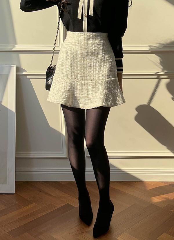 ツイードミニ丈スカート