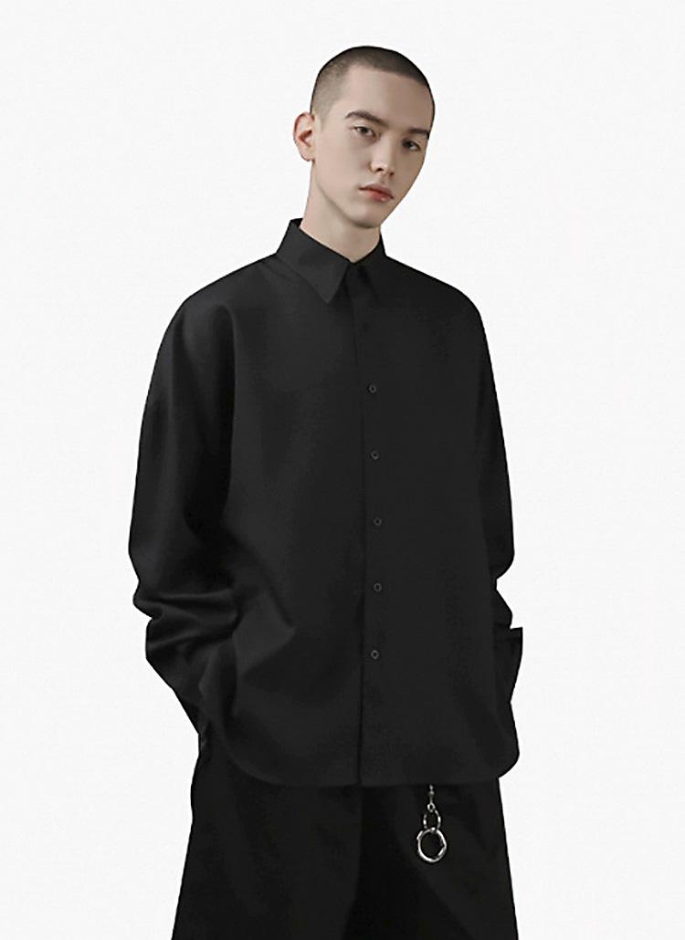 ドロップショルダーシャツ(black)