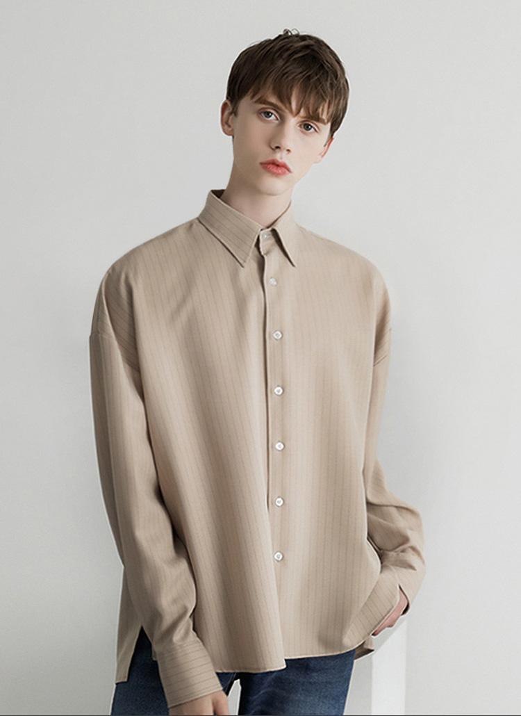 ピンストライプシャツ(beige)