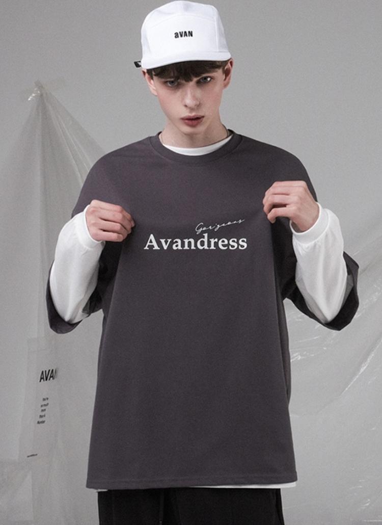 刺繍ロゴ半袖Tシャツ(CHARCOAL)