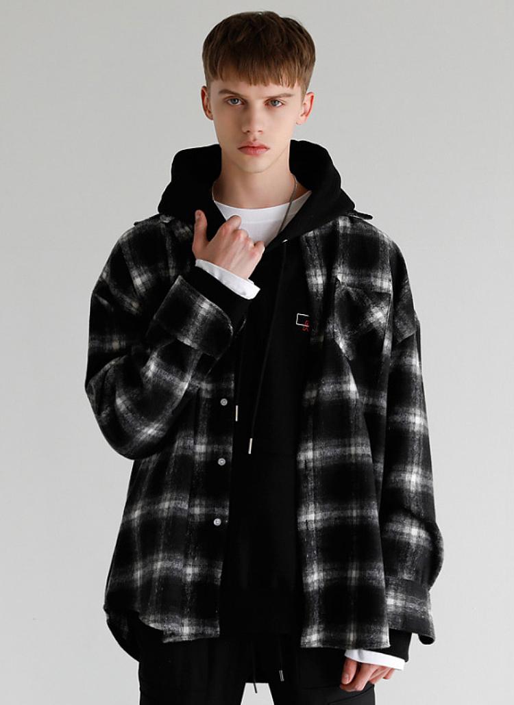 ワンポケチェックシャツ(BLACK)