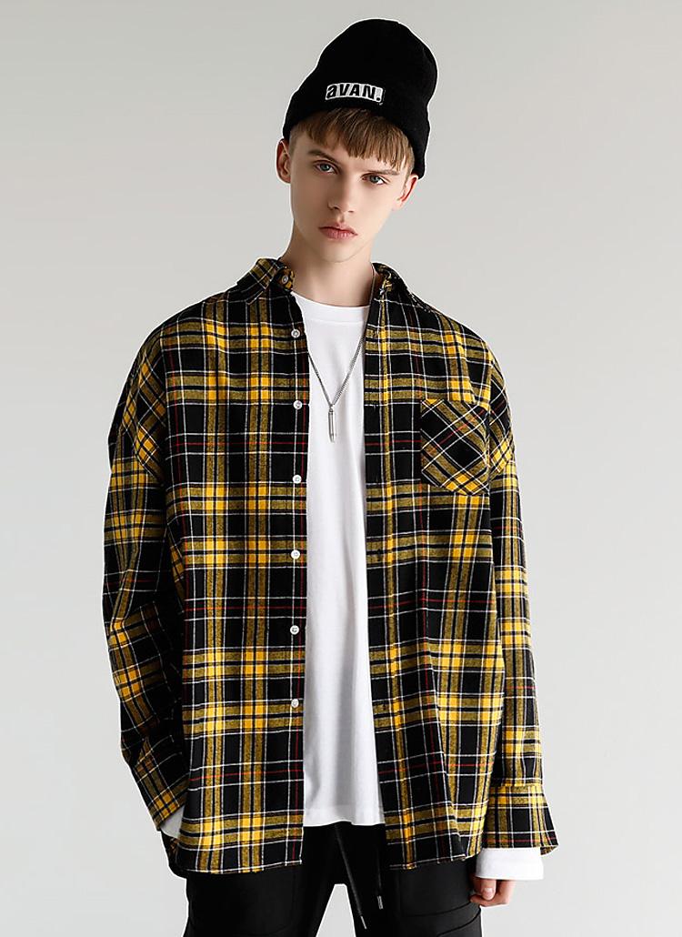 チェックパターンシャツ(YELLOW)