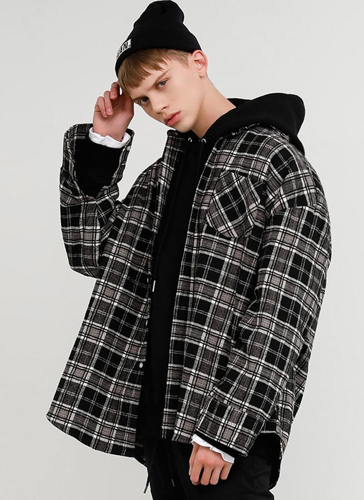 ヘリンボーンチェックシャツ(BLACK)