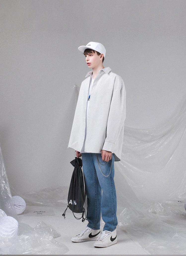 フロントポケットストライプシャツ(WHITE)