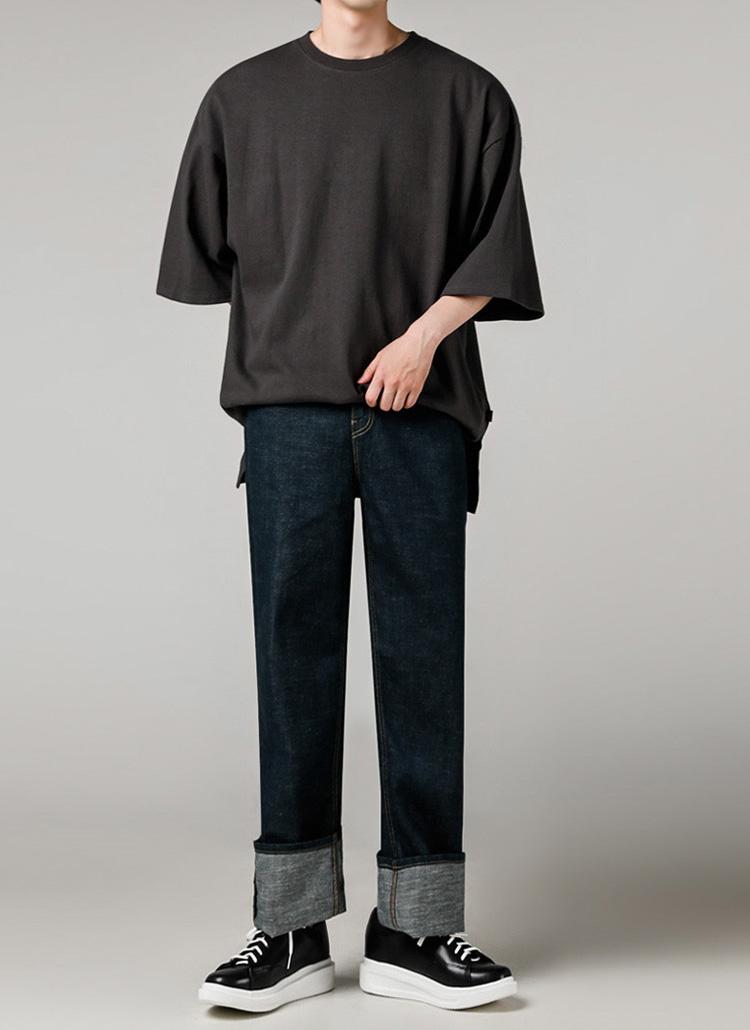 シグネチャータグオーバーTシャツ(CHARCOAL)