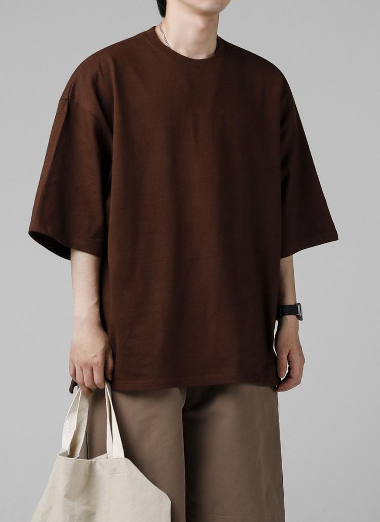 シグネチャータグオーバーTシャツ(BROWN)