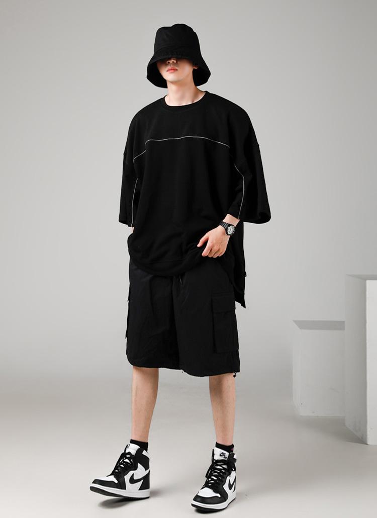 パイピングオーバーTシャツ(BLACK)