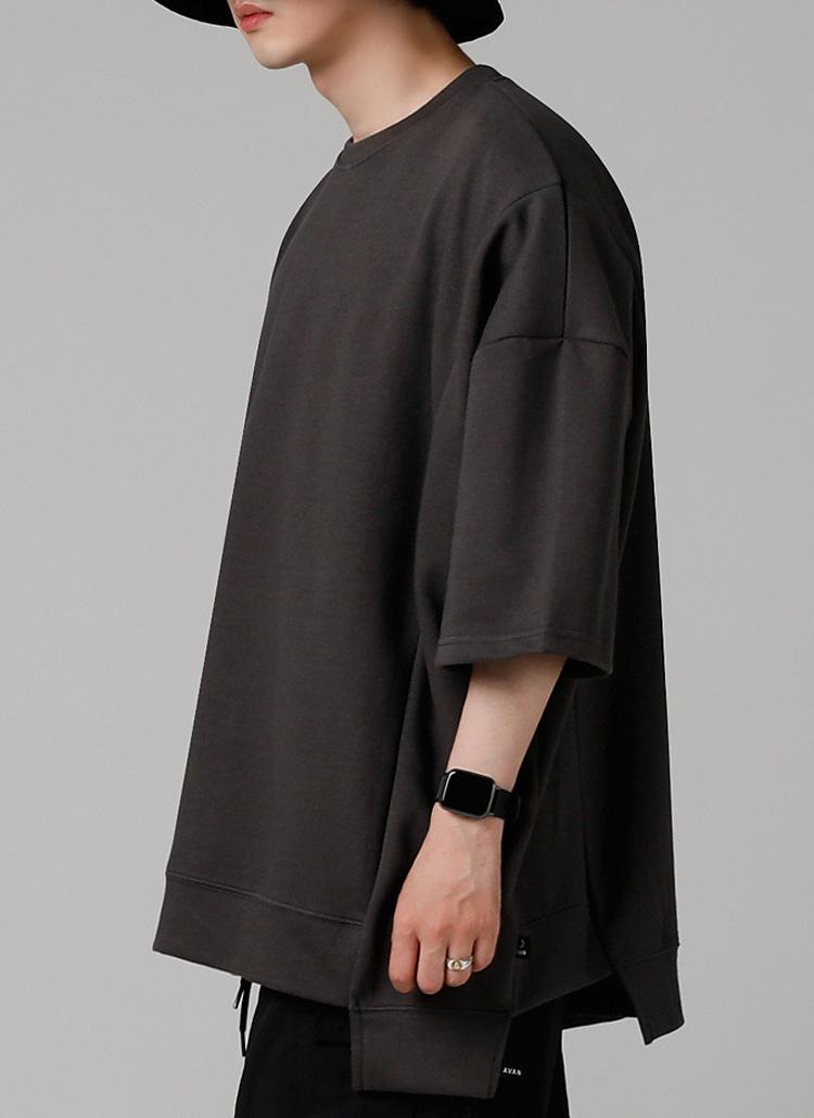 スリットハーフスリーブTシャツ(CHARCOAL)