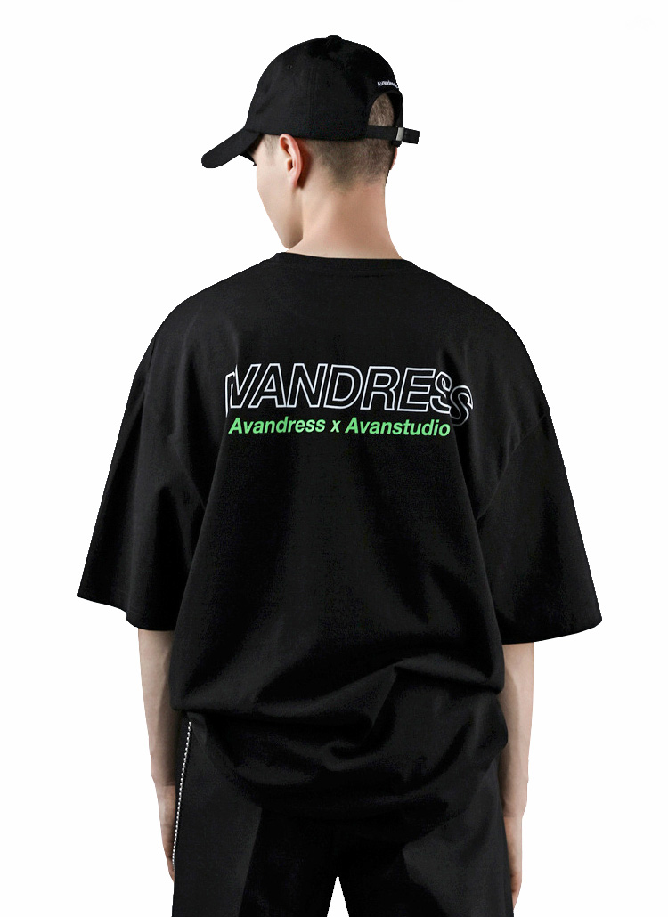 AVANダブルロゴ半袖Tシャツ(BLACK)