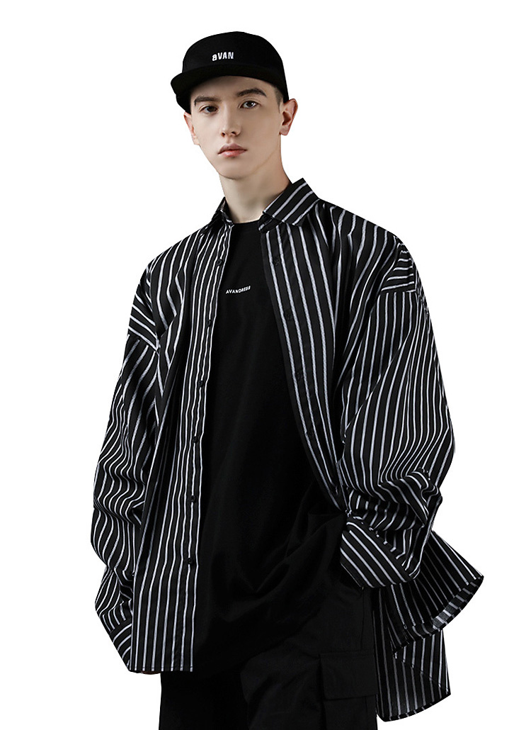オーバーストライプシャツ(BLACK)