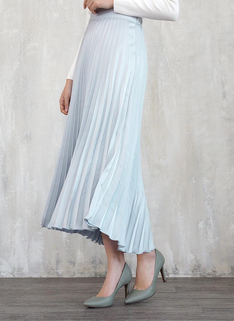 サテンプリーツスカート・全3色