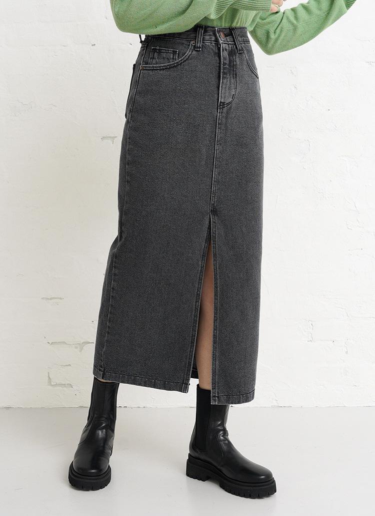 ブラックデニムスリットスカート・全1色