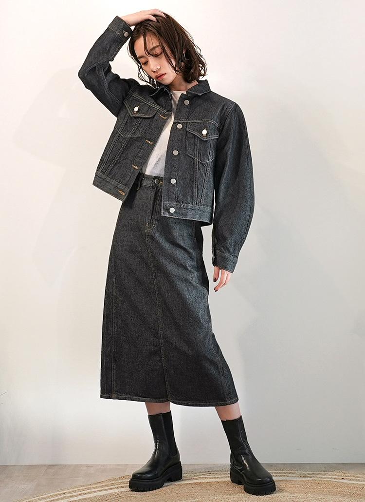 インディゴデニムジャケット&ロングスカートセット・全1色