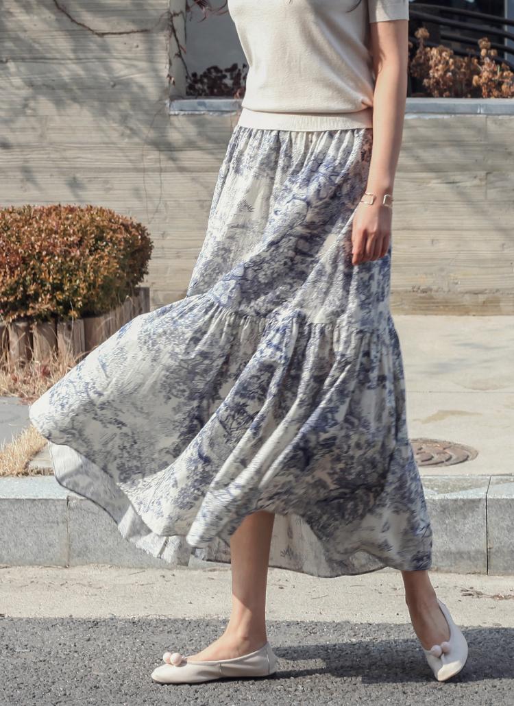 プリントギャザーラインロングスカート