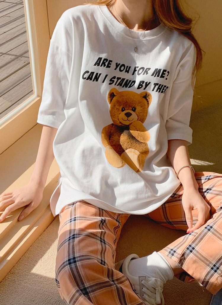レタリングベアープリントTシャツ