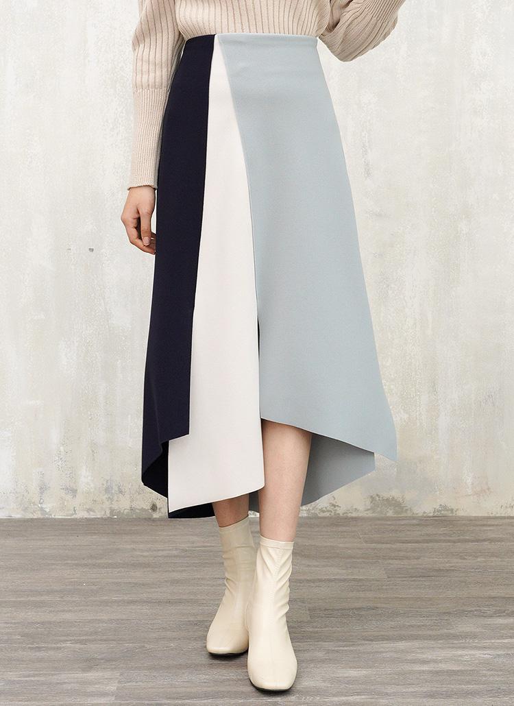カラーブロックスカート・全3色