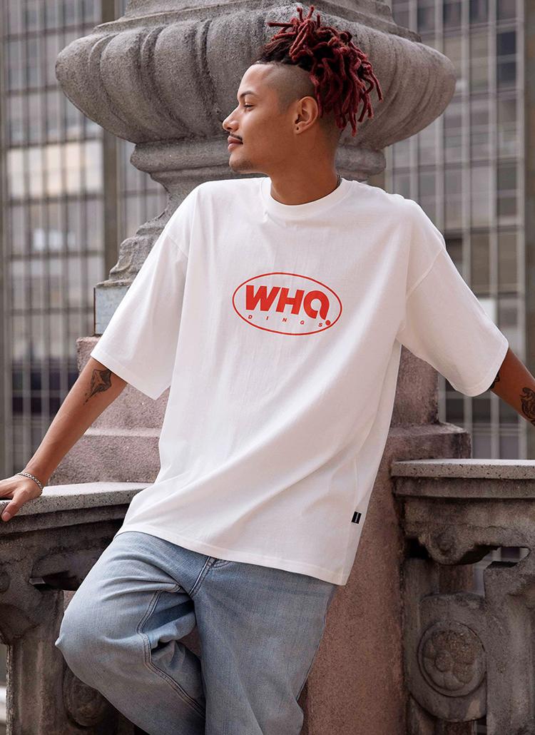 WHOバイカラー半袖Tシャツ