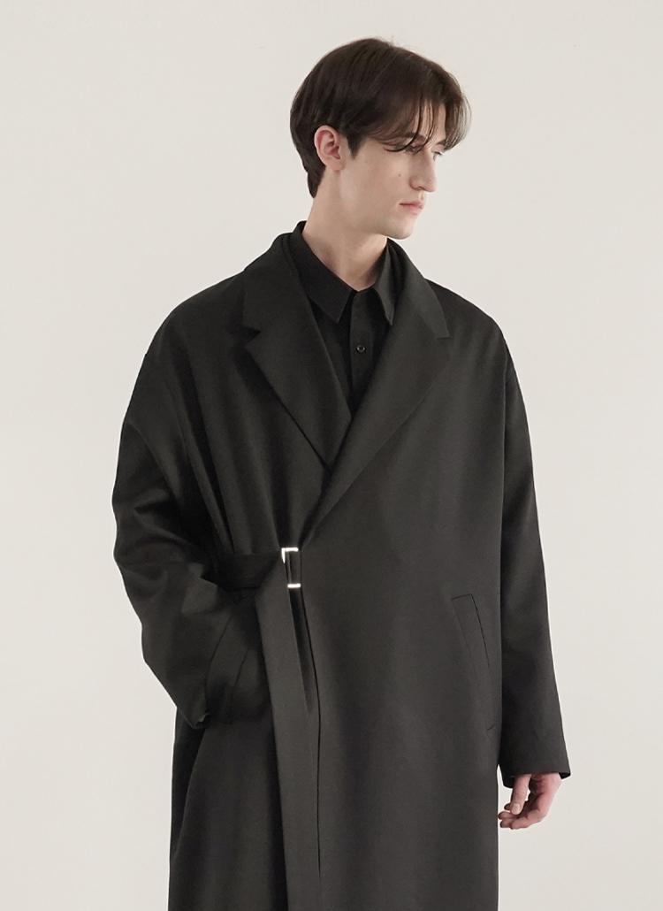 サイドベルトウールコート(ブラック)
